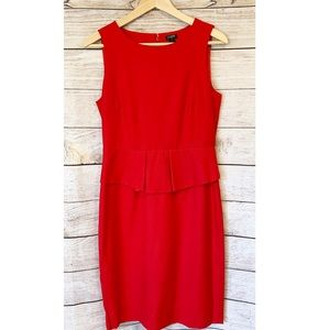 J. Crew Red Sleeveless Midi Pleaded Waist Dress